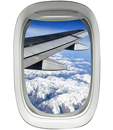 Airplane Window Porthole Wing Decal Sky View Clouds Mural Peel and Stick Aviation Decor A03