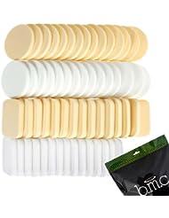 BMC 60 pc Latex Free Makeup Sponges for Full Coverage Powder, Cream, Liquid Foundation Cosmetics - Long Lasting, Disposable Beauty Blender Foam Applicator Puffs for Sensitive Skin & Professional MUA