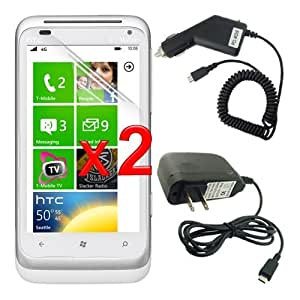 Premium 2 PACK of Clear Crystal Screen Protector + MICRO-USB Travel Rapid Car and Home Wall Charger for HTC Radar 4G Windows Phone (T-Mobile)