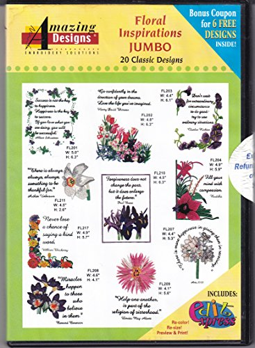 Amazing Designs Floral Inspirations Jumbo Machine Embroidery Designs