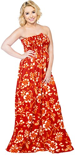 LA LEELA Soft  Printed Short Office  Beach  Tube Dress Red 407 One Size