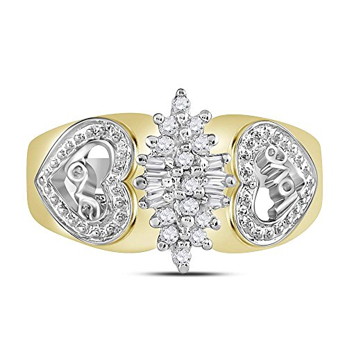 10kt Two-tone Yellow Gold Womens Round Diamond Oval Cluster Love Heart Ring 1/8 Cttw by Jewels By Lux (Image #1)