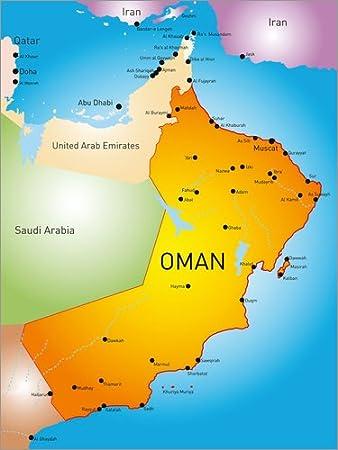 Posterlounge Forex Platte 60 X 80 Cm Oman Landkarte Von Editors