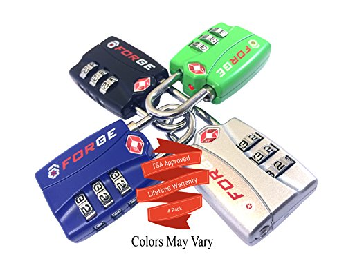 4 Pack【Open Alert】Indicator★Best TSA Approved Luggage Locks★4 Colors★3 Digit Combination★Theft Prote