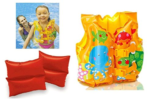 Intex (Set of 2) Child Floatation Fun Fish Swim Vest and Arm Bands (Inflatable) (Inflatable Swimming Vest)