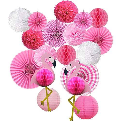 Tinfun 18 pcs Tropical Flamingo Party Honeycomb Decoration,Pom Poms Paper Flowers Tissue Paper Fan Paper Lanterns for Hawaiian Summer Beach Luau Party Birthday Baby Shower Festival Decorations