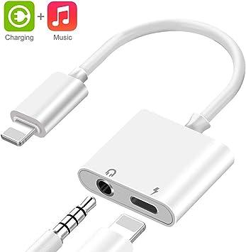 Adaptador de iPhone 11 Adaptador Jack de 3.5 mm Conector de Auriculares Compatible con iPhone 8//8 P//7//7 P//X//XR//XS//11 MAX Convertidor para Auriculares Divisor de Audio Compatible con Todos los iOS