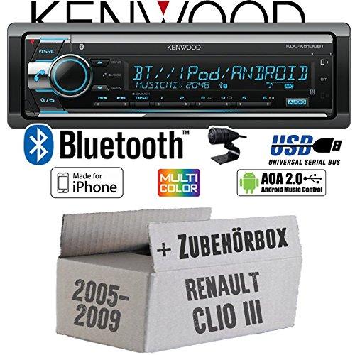 Renault Clio 3 - Autoradio Radio Kenwood KDC-X5100BT - Bluetooth CD/MP3/USB VarioColor Einbauzubehö r - Einbauset JUST SOUND best choice for caraudio ReCl3_KDC-X5100BT