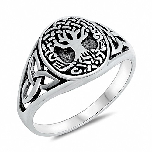 Blue Apple Co. Oval Celtic Tree of Life Band Ring 925 Sterling Silver Size-8