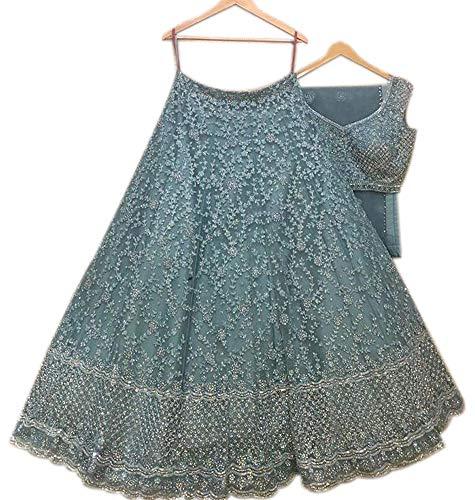 Ultimate Ecommerce Women's Net Semi stitched Lehenga Choli (ULT_ER13644_Sky Blue_Free Size)