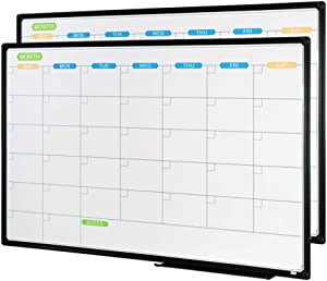 JILoffice Dry Erase Calendar Whiteboard - Magnetic White Board Calendar Monthly 36 X 24 Inch, 2 Pack, Black Aluminium Frame Wall Mounted Board for Office Home and School
