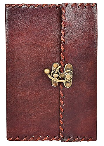 Rustic Town Handmade Vintage Antique Looking Genuine Leather Journal Diary Notebook Gift for Men Women Gift for Him Her (Old Lady Gifts)