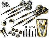 Professional Darts Set D - Customizable 6 Soft Tip Darts |6 Brass Barrels 17g | 18 Shafts (3 Styles) |8 Standard Flights (2 styles)| 50 Black 2BA Tips | 12 O-Rings | Dart Tool | Dart Sharpener | Case