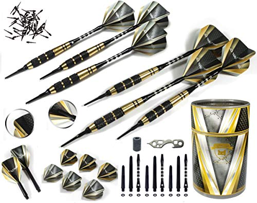 Professional Darts Set D - Customizable 6 Soft Tip Darts |6 Brass Barrels 17g | 18 Shafts (3 Styles) |8 Standard Flights (2 styles)| 50 Black 2BA Tips | 12 O-Rings | Dart Tool | Dart Sharpener | Case