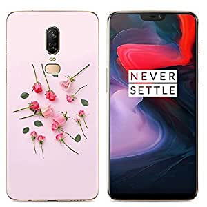 For OnePlus 6 Phone Case Creative Silicone Rose Flower Printed Shell Anti Fall Shockproof Soft Protective Cover
