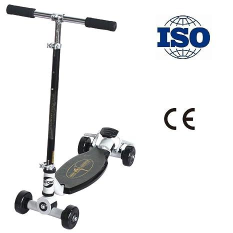 RISILAYS Patinete Scooter 4 Ruedas Plegable Altura Adjustable para Niños Vespa De Deriva De Grande para