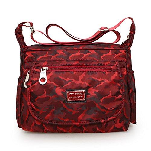 Dunland Mujeres Bolso Grande Cremallera Bolsos Impermeable impresión Festival madre regalo Totes Bolsa de Hombro Rojo