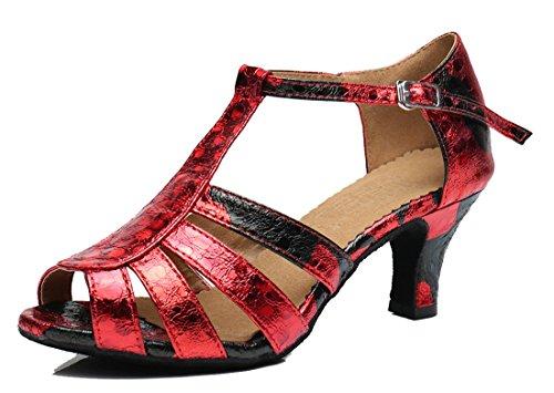Tda Dames T-strap Peep Toe Bloemen Synthetische Ballroom Moderne Latin Dans Trouwschoenen 6cm Hak Rood
