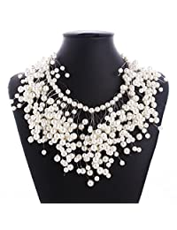 Pearl Multi-storey Explosion models exaggeration fashion retro false collar necklace