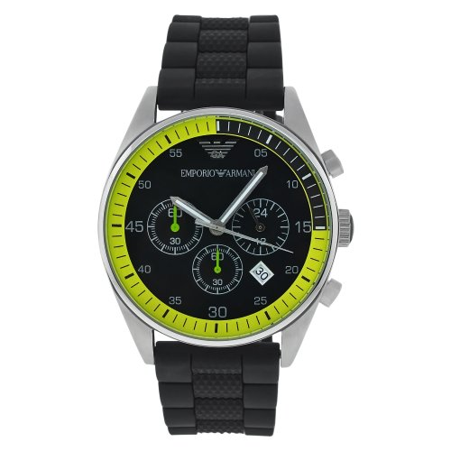 Emporio Armani Men's Quartz Stainless Steel and Rubber Casual Watch, Color:Black (Model: AR5865)