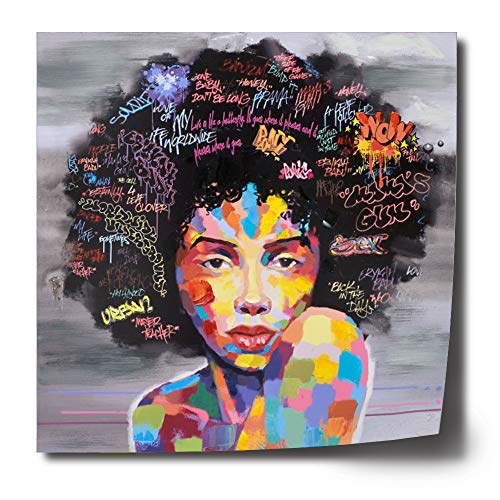FREE CLOUD Crescent Art Abstract Pop Black Art African American Wall Art Afro Woman Painting on Canvas Print Wall Picture for Living Room Bedroom Wall Decor (B Unframed, 24 x ()