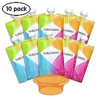 Bolsa de almacenamiento de alimentos para bebés reutilizables Brezza para bebés: haga puré de alimentos orgánicos para su niño y almacénelos en bolsas recargables para apretar - Juego a granel de 10 bolsas con cremallera