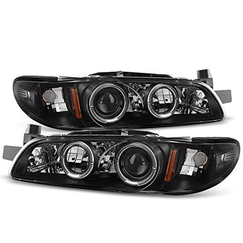 For Pontiac Grand Prix Black Bezel Dual Halo Ring Projector Replacement Headlights w/Corner Signal ()