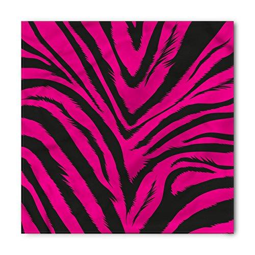 Ambesonne Unisex Bandana, Teen Room Hot Pink Zebra Skin, Magenta Black