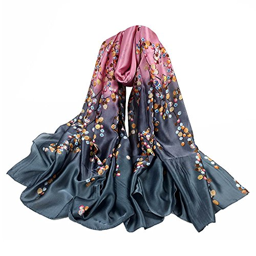 URIBAKE ❤ Autumn Women's Scarves Silk Print Long Soft Scarf Wrap Shawl Stole (Gray)