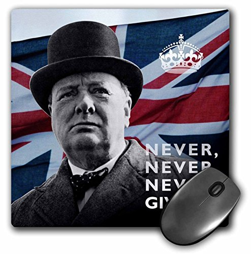 """3D Rose""""Winston Churchill Never Give Up Quotation Over Union Jack Background"""" Matte Finish Mouse Pad - 8 x 8"""" - mp_220216_1"""
