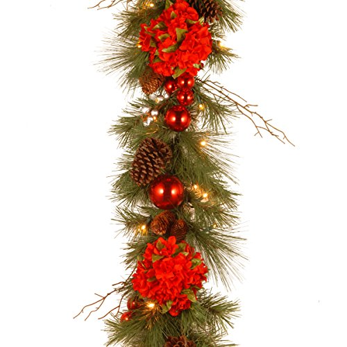 National Tree 9 Foot by 12 Inch Decorative Collection Hydrangea Garland with Silver Berries, Branch Twigs, Cones, Ball Ornaments and 50 Battery Operated Warm White LED Lights (DC13-158-9BB-1)