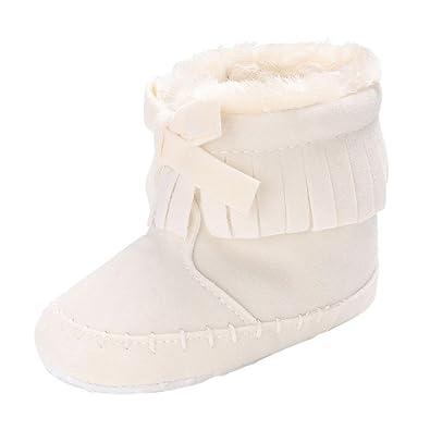 BZLine Frange Bowknot Coton Chaussures de Premier Pas Automne Hiver Keep  Warm Souple pour Bébés Filles