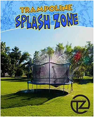 - ThrillZoo Trampoline SplashZone - Kids Fun Summer Outdoor Water Park Game Sprinkler - Waterpark Toys for Boys Girls and Adults - Accessories Included - Toy Attaches on Safety Net Enclosure