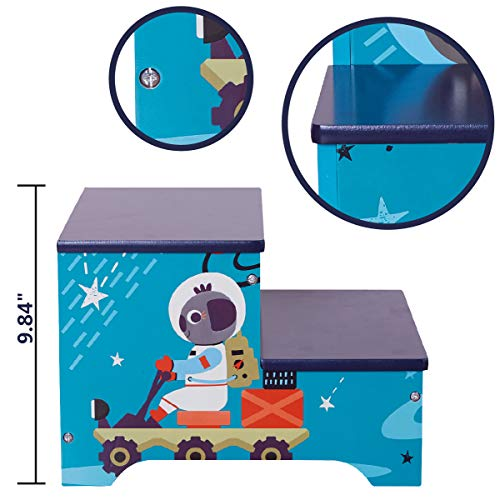 Toffy & Friends Kids Blue Wooden Step Stool with Storage,Children's Furniture Two-Step Stool Environmentally Friendly UV Paint Non-Toxic Lead Free (1 Piece)
