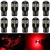 10-Pack T10 194 168 168 2825 Extremely Bright Red 200Lums Canbus Error Free 12V LED Light,8-SMD 5730 Chipsets Car Replacement Bulb For Map Dome Courtesy License Plate Side Marker Light