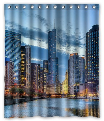 CHARMHOME Chicago Scenery Decoration Bathroom Shower Curtain Waterproof Polyester Fabric with Rings 66x72 inch -