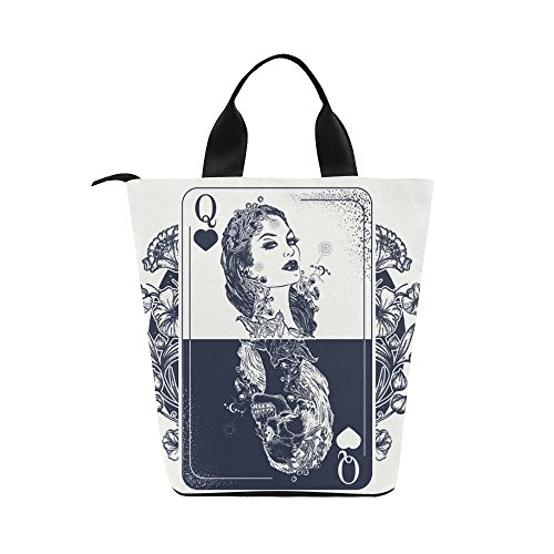 InterestPrint Queen laying Card Art Nylon Cylinder Lunch Bag Tote Shopping Handbag, Girl Skeleton Reusable Large Lunchbox Grocery Bag - Cylinder Tote Purse
