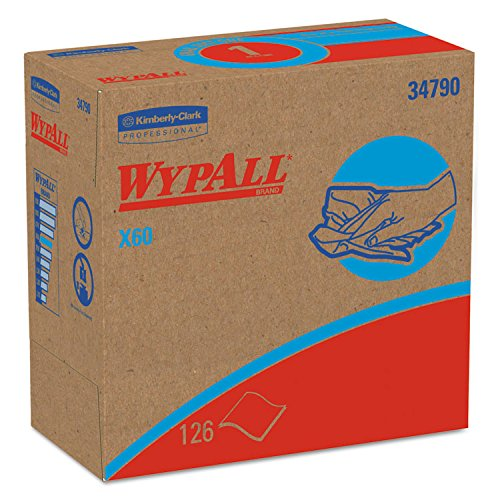 WypAll 34790CT X60 Wipers, POP-UP Box, White, 9 1/8 x 16 7/8, 126/Box, 10 Boxes/Carton 60 Reinforced Wipers