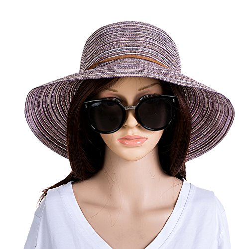 Cotton Straw Cap (MissNity Women Floppy Sun Hat Summer Wide Brim Purple Beach Cap Foldable Cotton Straw Hat (Purple))
