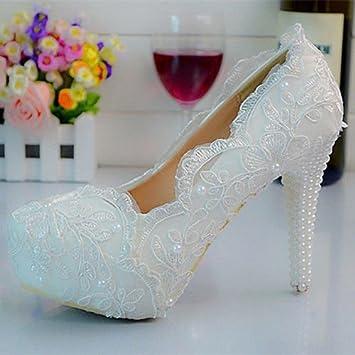 fde1dc5e60b8 JINGXINSTORE Handmade Pearl White Big Lace Wedding Ball Club Shoe High Heel  Evening