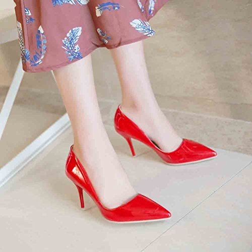 Easemax Womens Sexy Pointed Toe Low Cut High Stiletto Heel Pumps Shoes Red 47x8VCi9y