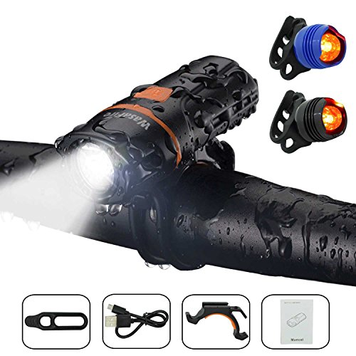 Wasafire LED Bicycle Lights Set, Super Bright Bike Front Light and Rear...