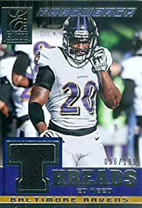 Ed Reed player worn jersey patch football card (Baltimore Ravens) 2014 Panini Elite Throwback #3