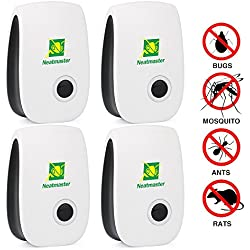 Neatmaster Ultrasonic Pest Repeller - Electronic Pest Control Plug In-Pest Repellent for Insects -Mice ,Roaches ,Bugs , fleas , Mosquitoes and Spiders - Set of 4