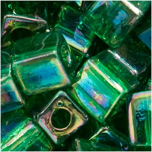 - Miyuki 4mm Glass Cube Beads Transparent Emerald Green AB #179 10 Grams