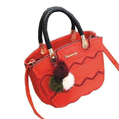 Wewod Mujeres Retro Bolso de Mensajero Bolsa de Bandolera de PU Cuero Bolsas de crossbody con asa y Colgante 25 x 20 x 12 cm (L*H*W) Rojo-a