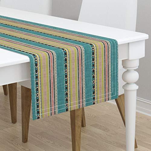 Table Runner - Tribal Home Decor Stripe Citron Stripe Joan Southwest Teal Peach Chartreuse by Joanmclemore - Cotton Sateen Table Runner 16 x 108
