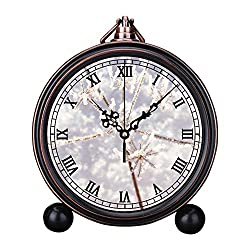 Retro Innovative Student Clock Alarm Clock Table Iron Decoration Desktop Clock Round Person Holding Flower Covered with Snow