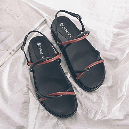 GAOLIM La Palabra En El Verano De Sandalias Planas Rocío Femenino-Toe Zapatos Alumnas Cruz Con Pastel De Pino Zapatos Rojo y negro
