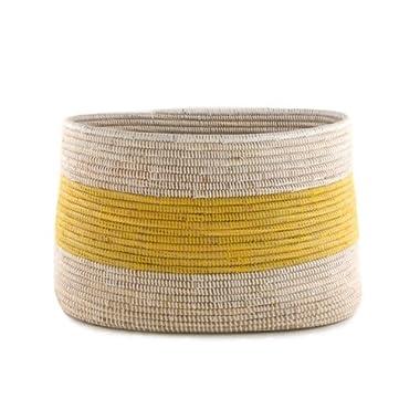 Handmade Fair Trade Woven African Knitting Storage Basket - Yellow Stripe